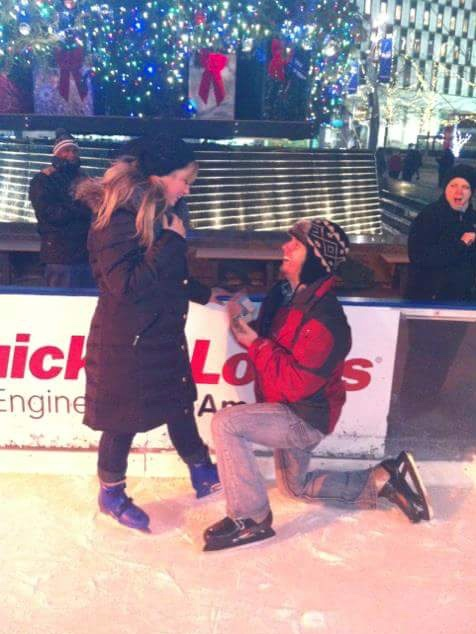 Trisha Lemanski was proposed to while ice skating at Campus Martius Park.