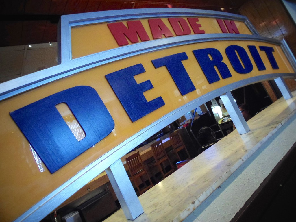 Made In Detroit Sign at Buddy's Pizza Detroit Location