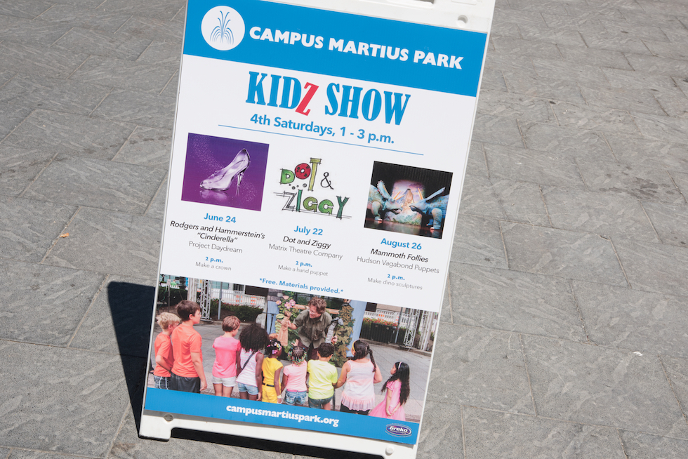 The first Kidz Show of the summer took place at Campus Martius Park. The event featured free children's theater and a hands-on art project.