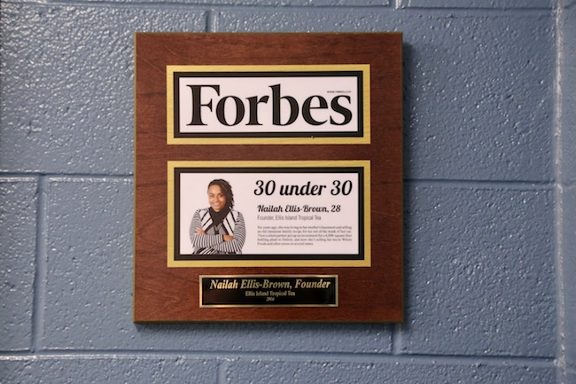 Plaque honoring Ellis-Brown's Forbes 30 Under 30 Award