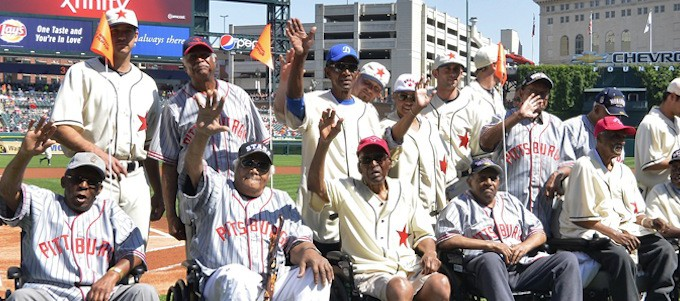 Sporting Detroit Stars Throw-back Uniforms, Tigers Pay Tribute To Members Of The Negro Baseball League. (Photo By Thomas Richardson/Tell Us Detroit)