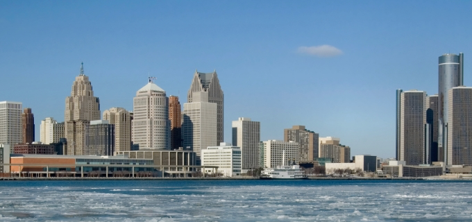 Winter Detroit Skyline