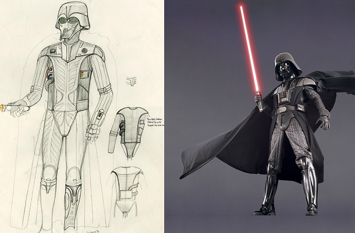 Featured Image Caption: Left: Hyperdrive StarDarth Vader Concept Art, 1976, John Mollo, Graphite Pencil, Colored Pencil And Ink On Paper. Right: Darth Vader, Star Wars™ : Episode III: Revenge Of The Sith. Illustration And Image ©  & ™ 2018 Lucasfilm Ltd. All Rights Reserved. Used Under Authorization.