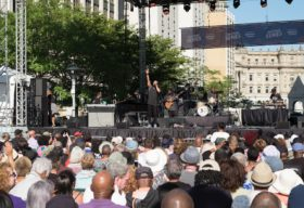 Jazz Fest Stage, Crowd and Performers